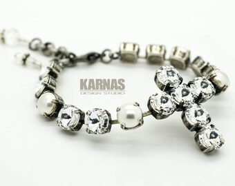 CRYSTAL PEARL CROSS 8mm Crystal Chaton Bracelet Made With Swarovski Elements *Pick Your Finish *Karnas Design Studio *Free Shipping*
