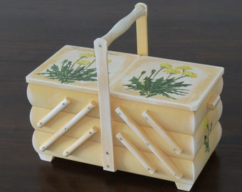 Sewing box sewing sewing box basket hand painted country house wooden hand work handmade great