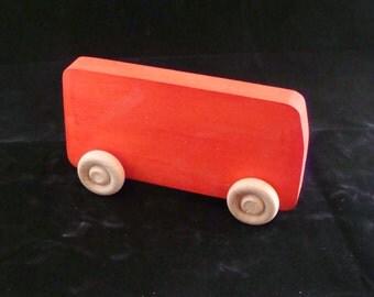 Handmade Wooden Retro VW Van Red