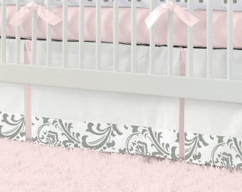 "Girl Baby Crib Bedding: Pink and Gray Elephants Crib Skirt - 14"" or 20"" by Carousel Designs"
