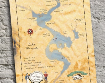 Lake Wausau Wisconsin Vintage Inspired Lake Map Print Handmade And Personalizable Lake Art And