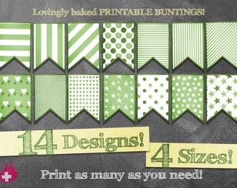 Printable bunting banner in GREEN & WHITE. Stripes, dots, stars, squares and hearts! 14 designs in 4 sizes, from Wall to Cake Bunting!
