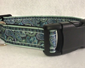 Blue and Green Paisley Dog Collar