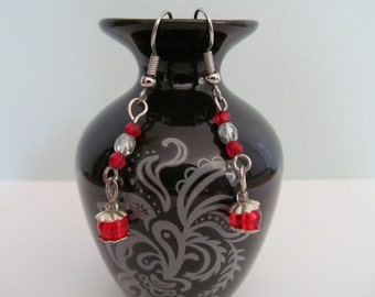 red and silver dangle earrings with silver Czech glass accents