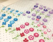 3 sheets of 3D sticker. Red, Blue & purple flowers.