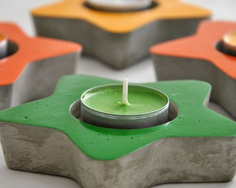 Cement star candle holder