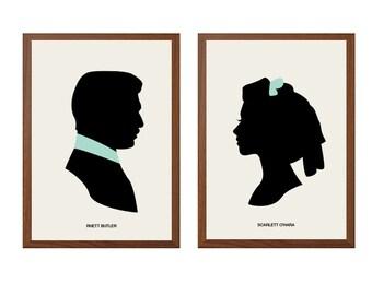 GONE with the WIND |  Rhett and Scarlett Poster : Scarlett and Rhett Modern Illustration Retro Art Wall Decor
