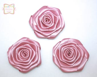 Dusty Mauve Satin Rolled Rosette 3 Pieces #D106