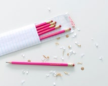 Mean Girls Medium Pink Pencils with Gold Foil Text, boo you whore, that's so fetch, on wednesdays we wear pink!