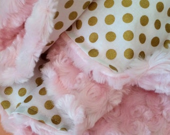 Gold dot baby blanket, light pink minky, gold nursery, blush girl shower gift, gold nursery, robert kaufman spot on, modern, trendy gift