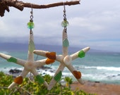 Starfish Earing w/ sea glass handmade