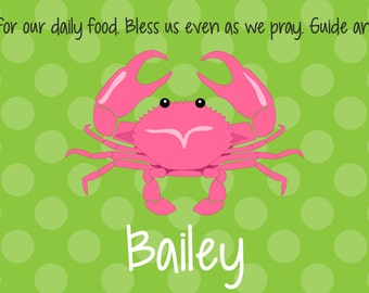 Personalized Placemat - Kids Placemat - Childrens Placemat - Childs Placemat - Laminated Placemat - Baptism Gift - Preppy Pink Crab