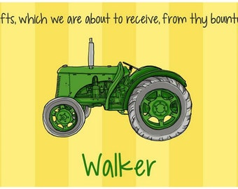 Personalized Placemat - Kids Placemat - Childrens Placemat - Childs Placemat - Laminated Placemat - Green Tractor