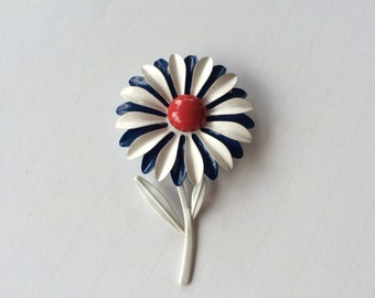 Vintage Flower Brooch Red White Blue Enamel Brooch