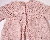 Soft Knit Baby Sweater, Knit Baby Cardigan, Newborn  to 6 months -  Pink Twead - Ready to Ship
