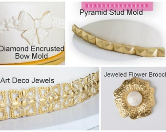 Jeweled Flower Brooch mold, Art deco jewels moulds, pyramid stud mold &  diamond encrusted bow moulds