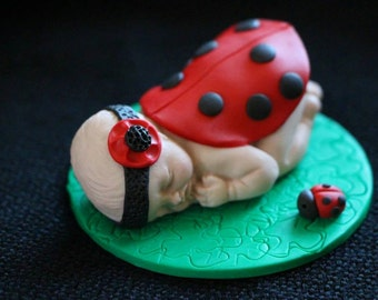 Polymer Baby Ladybird Topper for Baby Shower