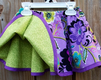 Reversible Girls Twirl Skirt Purple Twirl Skirt Fully Reversible Circle Skirt Girls Twirl Skirt Reversible Girls Skirt Girls Purple Skirt