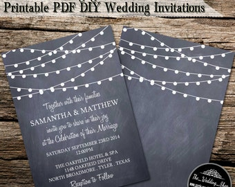 "Instant Download: 5"" x 7"" Romantic String Lights On Chalkboard Printable DIY Wedding Invitation Editable PDF Template"