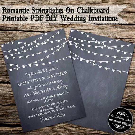 Diy Chalkboard Wedding Invitations: Instant Download: 5 X 7 Romantic String Lights On