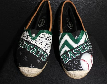 Custom Made Hand Painted Wildcat Baseball Tom's Canvas Shoes