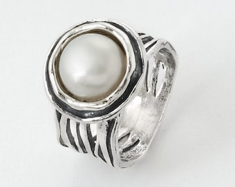 White Pearl Stacker .925 Sterling Silver Sz Ring