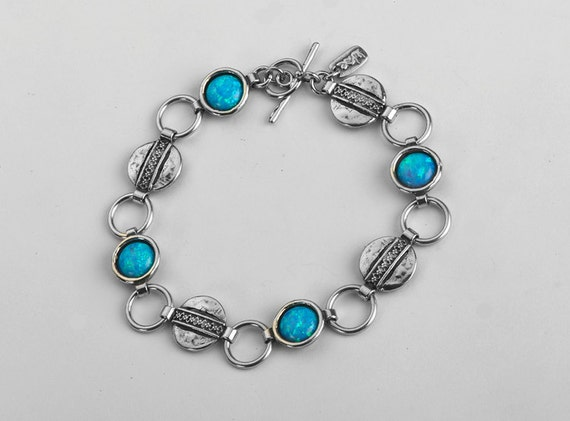 Shablool Israel Didae Handcrafted 4 Opal Stones Sterling Silver 925 Bracelet