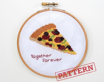 Together Forever Pizza Cross Stitch Pattern