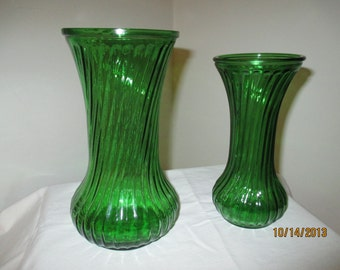 SALE - Vintage Hoosier Green Glass Vases 4090 & 6 (Set of 2)