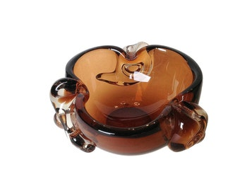 REDUCED! Art Glass Bowl, Ashtray, Copper Brown, Blown Glass, Mid-Century Vintage