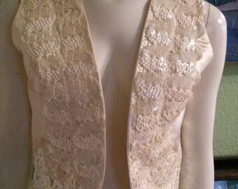 Vintage Creme Satin Vest with Sequins