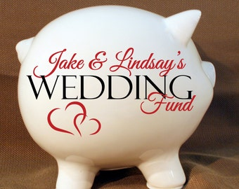 "5.5"" Wedding fund personalized piggy bank with Vinyl Decal, Engagement Party Gift, Fund Piggy bank, Wedding Bank"