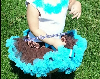 Full and Fluffy Pettiskirt+Top Set for Girls, Blue/Brown Petti Set, Birthday Fluffy Petti Skirt+Tank Set, Pettidress, Petti dress