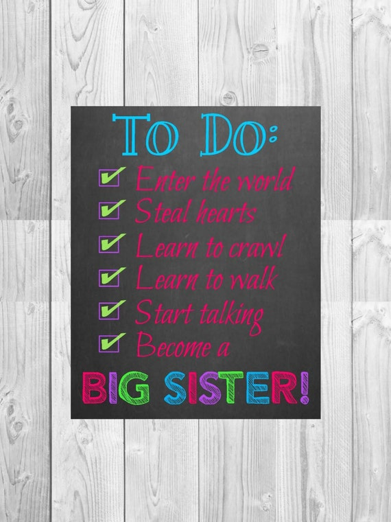Big Sister Pregnancy Announcement Chalkboard Photo Prop | To Do Check List | Size: 11x14 | *Digital File* | by MMasonDesigns