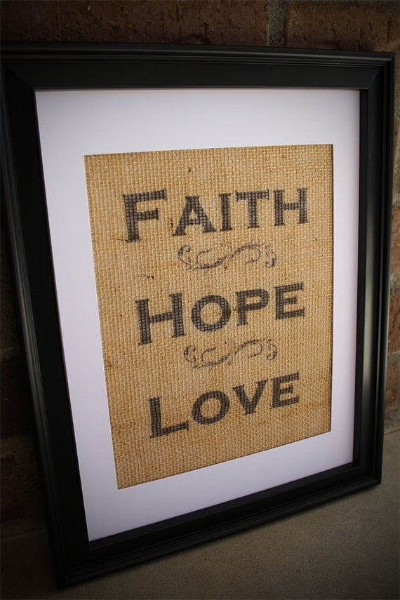 Burlap Faith Hope Love Wall Art Burlap Print Faith Hope