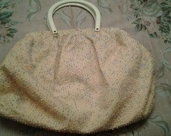 vintage creme beaded handbag