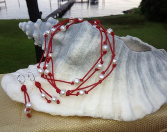 Red Leather pearls necklace with matching earrings