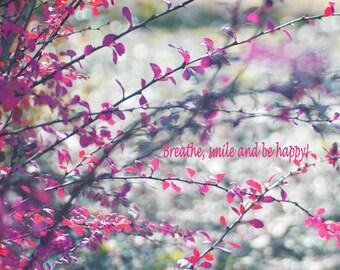 Purple & grey nature photography, tree branch picture, botanical print, light bokeh photo, magenta pink gray wall art, inspirational decor