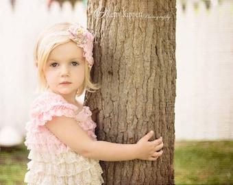 Pink and cream lace petti dress - vintage lace dress - bridesmaid dress - cream flower girl dress - cream lace petti dress