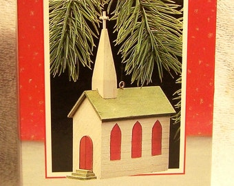 Hallmark Keepsake Christmas Ornament – 1988 MIB, Old-Fashioned Church - QX4981