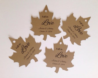 Fall Wedding Favour tags, Wedding Favor Tags.  Kraft card stock in a leaf shape. Personalized and customized