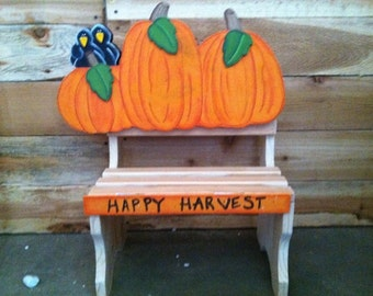 Happy Harvest interchangeable sign with bench