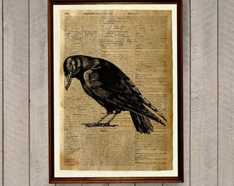 Raven poster Dictionary page Crow print Bird illustration WA92