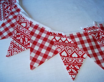 Christmas Bunting in Emma Bridgewater Red  Joy fabric  Laura Ashley Red  gingham