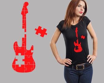 Puzzle Guitar T-Shirt Music Ladies Tee Woman Top