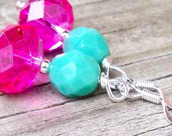 Leanna - GORGEOUS 12mm Round Hot Pink and 6mm Round Multifaceted Turquoise Czech Glass Gemstone Silver Dangle Fish Hook Earrings