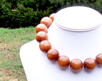 Lanna - Extra Large 25mm Round Toffee Brown Jade Gemstone Beaded Necklace