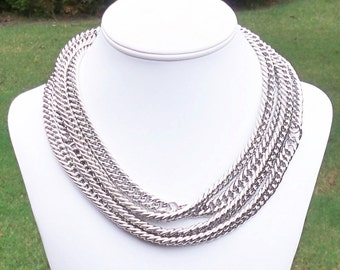 Britten - Long Modern Chunky Silver Metal Chain Necklace - Can Be WORN MULTIPLE WAYS - High Fashion