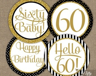 60th Birthday Cupcake Toppers - 60th Birthday Party Decorations Printable - Black Gold Glitter Elegant 60th Birthday Favor Tags 60 Years BGL