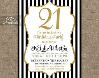 21st Birthday Invitations - Black & Gold Glitter - Twenty First Any Age - Thirtieth Birthday Invites Printables, Black White Stripes - BGL